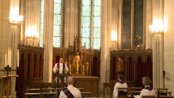 Rev. Bruce Puckett preaches in Duke Chapel Sunday before a nearly-empty Duke Chapel, but before a large virtual audience.