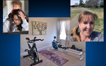 A parent, a home gym and a person walking.