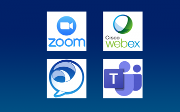 Logos of Zoom, Jabber, Microsoft Teams and WebEx.