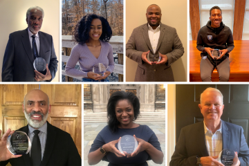 2021 Cook Society Award winners, clockwise from top left: Charles Becton, De'Ja Wood, Michael Cary Jr., Nolan Smith, Tom Bonfield, Ajenai Clemmons, and Richard Powell.