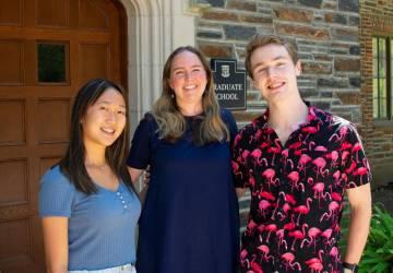 Ph.D. student Sarah Nolan (center) and undergraduates Katie Tan and Evan Dragich took a data deep dive into the Duke Ph.D. experience.
