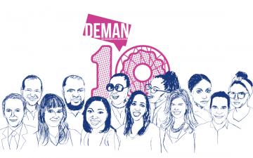 Line drawings of alumni attending DEMAN weekend