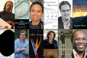 Six collections of poetry pictured with authors.