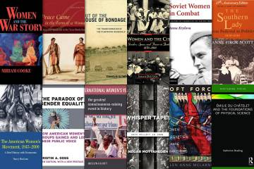 12 book cover featuring women's history titles from Duke authors.