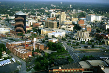 aerial shot of Downtown Durham