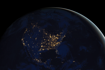photo of earth at night taken from space