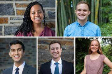 The 2018 Faculty Scholars, clockwise from top left: Mumbi Kanyogo, John Franklin Crenshaw, Laura Naslund, Louden Richason and Kushal Kadakia.
