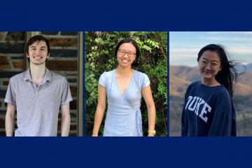 The 2021 Faculty Scholars: Logan Glasstetter, Katherine Gan and Norah Tan