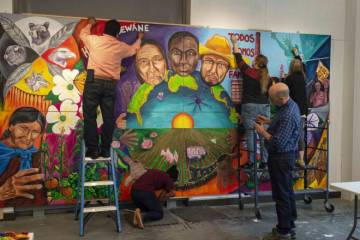 Created in the Ruby through an arts project residency, this new mural honoring farmworkers past, present, and future will be replicated and displayed outdoors at the Duke Campus Farm.