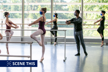 Iyun Ashani Harrison teaches intermediate ballet in the Cube of the Rubenstein Arts Center on the first day of classes. Photo: Jared Lazarus