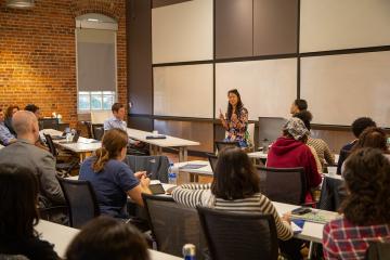 Nancy Tao Go speaks at the Innovative Careers for Ph.D.s workshop. Among her advice: Network like a honey badger.