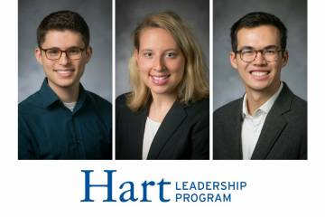 Hart Leadership Fellows for 2017-18: David Rosen, Paige Newhouse and Henry Warder.
