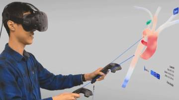 Research scientist Harvey Shi demonstrates a new virtual reality interface that doctors could soon use to help make medical decisions such as where to place stents on a patient-by-patient basis.