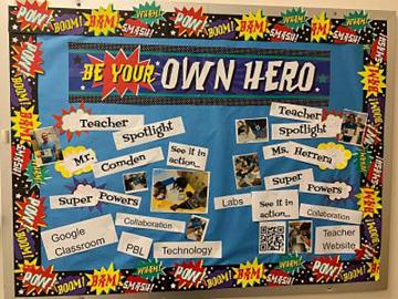A bulletin board in Herrera's classroom.