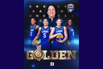 graphic of Kara Lawson and the gold winning 3x3 basketball team