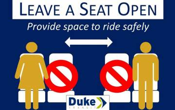 Duke is following a protocol ranging from a three-step disinfectant process to physical distancing aboard all 25 buses and other transit vehicles.