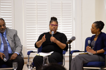 Adriane Lentz-Smith talks about the contradictions of race as social creation. Joseph Graves and Charmaine Royal were among the other panelists. Photo by Youqi Tang