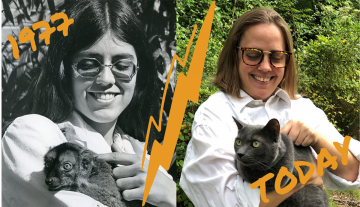 At left: a ca. 1977 photo of caretaker Suzanne Lassiter holding a lemur at the Duke Primate Center, ca. 1977. At right: University Archivist Val Gillispie recreates the same photo with her cat, Barbecue Sauce.