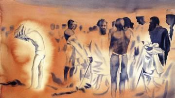 Atul Dodiya, Sea-Bath (Before Breaking the Salt Law), 1998. Watercolour on paper, 55.8 x 76.2 cm.