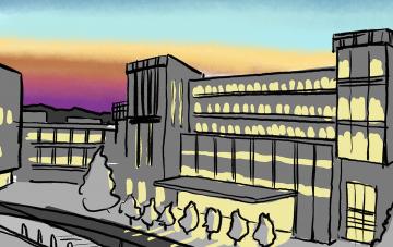 Illustration of Duke Cancer Center