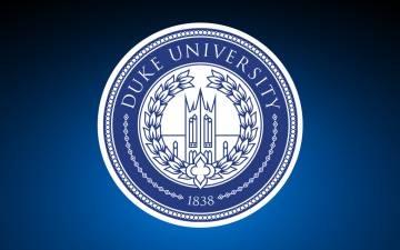 Duke University logo against blue background.