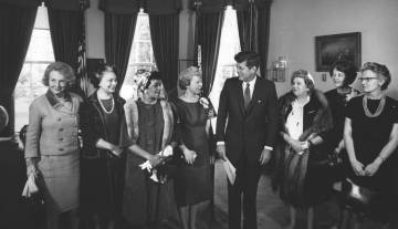 Eleanor Pressly and other NASA women with JFK