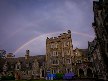 double rainbow over Duke's campus