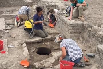 Duke researchers work with an Etruscan well-cistern connected with a complex water management system in ancient Italy. Photo courtesy Maurizio Forte