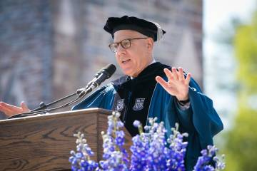 Trustee Chair David Rubenstein said Duke graduates should show leadership by giving back to Duke and the country. Photo by Duke Photography