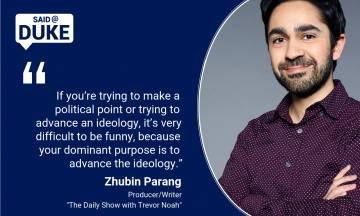 Comedian-writer producer Zhubin Parang spoke at Duke.