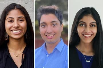 Samvid Scholars: Rasheca Logendran, Sahil Sandhu and Sujal Manohar.