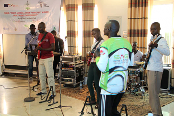 Ugandan musician Odong Christopher (in red) plays with one of the bands that Duke Ph.D. candidate Matthew Sebastian has been playing with. Teaching music classes and playing with local musicians have allowed Sebastian to form deeper connections with the p
