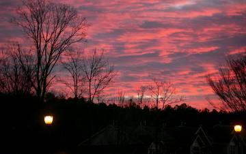 A purple sky at sunrise.