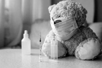 sick teddy bear in a hospital