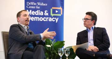Chuck Todd and Bill Adair shared stories illustrating the struggles of modern political journalism. Photos by Colin Huth.