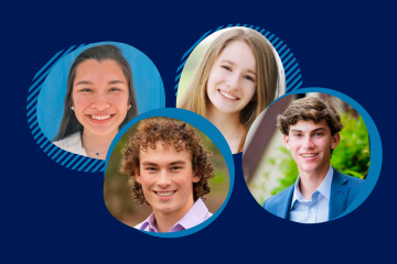 "Trinity Scholars for the Class of 2025: Hishi Ulak, Elena Granowsky, Michael ""Mikey"" Schwartz and Connor Fogleman"