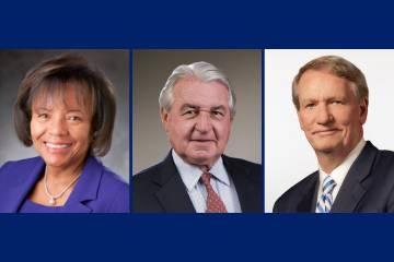 2021 University Medal Award Winners: The late MaryAnn Black, Peter Nicholas and Rick Wagoner.