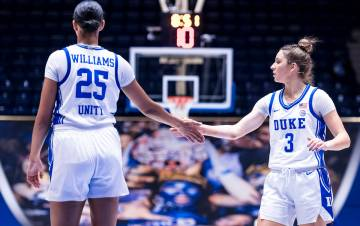 Duke basketball players high five.