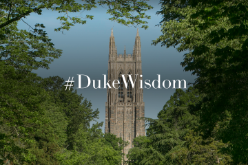 campus beauty shot with text #DukeWisdom
