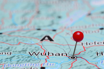 Map of Wuhan with a pin in the middle of the city